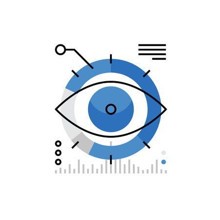Modern vector icon of business marketing monitoring, company mission, strategy vision. Premium quality vector illustration concept. Flat line icon symbol. Flat design image isolated on white background.