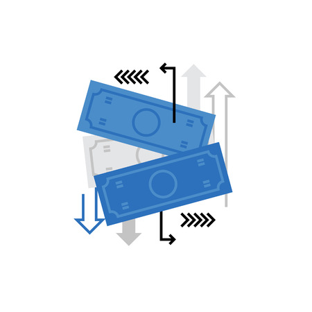 transactions: Modern vector icon of transactions, funds activity and money flow with banknotes. Premium quality vector illustration concept. Flat line icon symbol. Flat design image isolated on white background.