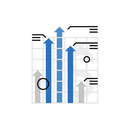 Modern vector icon of financial growth chart, company progress and uptrend bar. Premium quality vector illustration concept. Flat line icon symbol. Flat design image isolated on white background.