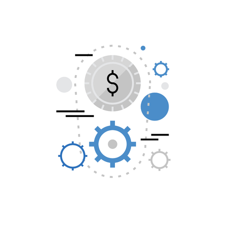Modern vector icon of money making process and gainful mechanism with cogwheels. Premium quality vector illustration concept. Flat line icon symbol. Flat design image isolated on white background.