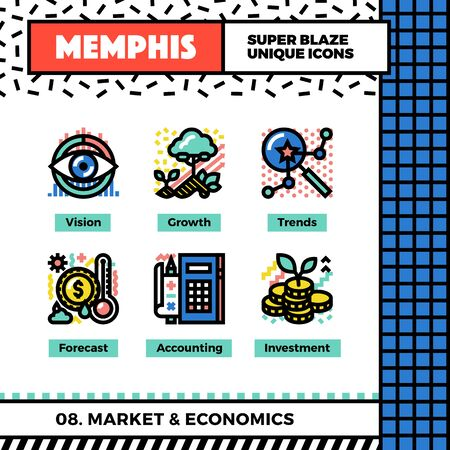 Neo memphis style icons with pop colors. Market trends and economics vector icons set. Funky and trendy colorful graphics. Flat design web symbol pack. Bold line icons collection. Isolated on white. Illustration
