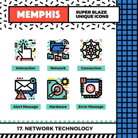 shared sharing: Neo memphis style icons with pop colors. Network technology vector icons set. Funky and trendy colorful graphics. Flat design web symbol pack. Bold line icons collection. Isolated on white. Illustration
