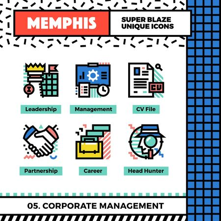 sheet: Neo memphis style icons with pop colors. Corporate management vector icons set. Funky and trendy colorful graphics. Flat design web symbol pack. Bold line icons collection. Isolated on white.