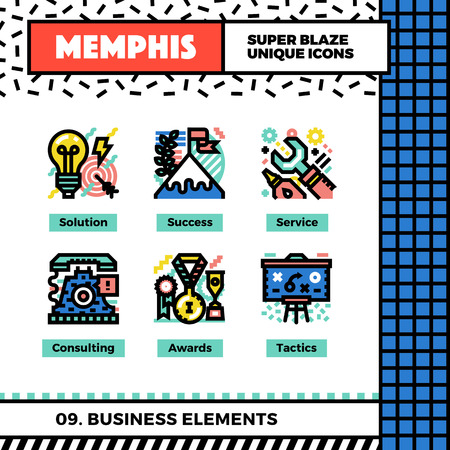 Neo memphis style icons with pop colors. Business elements vector icons set. Funky and trendy colorful graphics. Geometric flat design symbol pack. Bold line icons collection. Isolated on white.