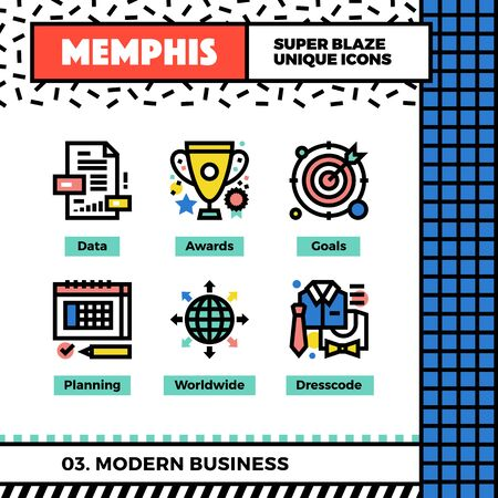 cup: Neo memphis style icons with pop colors. Modern business vector icons set. Funky and trendy colorful graphics. Geometric flat design symbol pack. Bold line icons collection. Isolated on white.