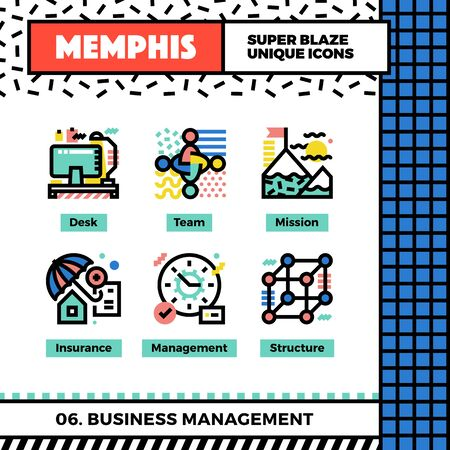 flag: Neo memphis style icons with pop colors. Business management vector icons set. Funky and trendy colorful graphics. Geometric flat design symbol pack. Bold line icons collection. Isolated on white. Illustration