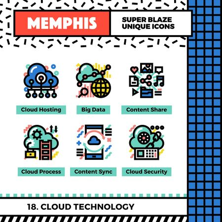 synchronizing: Neo memphis style icons with pop colors. Cloud technology vector icons set. Funky and trendy colorful graphics. Flat design web symbol pack. Bold line icons collection. Isolated on white.