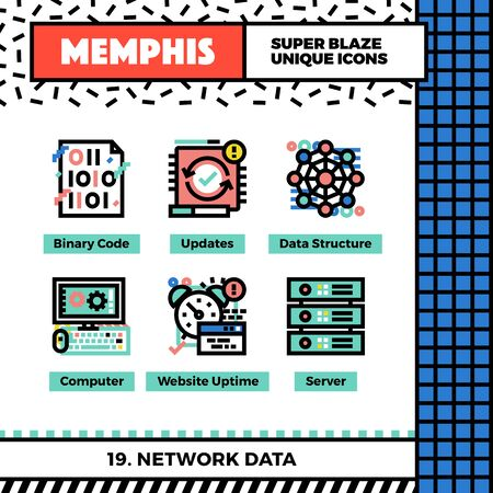 hardware: Neo memphis style icons with pop colors. Network data vector icons set. Funky and trendy colorful graphics. Flat design web symbol pack. Bold line icons collection. Isolated on white.