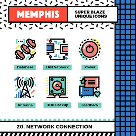 wireless icon: Neo memphis style icons with pop colors. Network connection vector icons set. Funky and trendy colorful graphics. Flat design web symbol pack. Bold line icons collection. Isolated on white. Illustration
