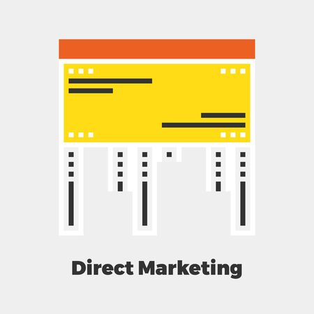 line material: Direct Marketing Flat Icon. Material Design Illustration Concept. Modern Colorful Web Design Graphics. Premium Quality. Pixel Perfect. Bold Line Color Art. Unusual Artwork Isolated on White.