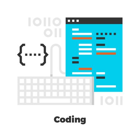 isolated: Coding Flat Icon. Material Design Illustration Concept. Modern Colorful Web Design Graphics. Premium Quality. Pixel Perfect. Bold Line Color Art. Unusual Artwork Isolated on White.