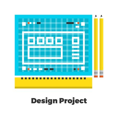 grid: Design Project Flat Icon. Material Design Illustration Concept. Modern Colorful Web Design Graphics. Premium Quality. Pixel Perfect. Bold Line Color Art. Unusual Artwork Isolated on White.