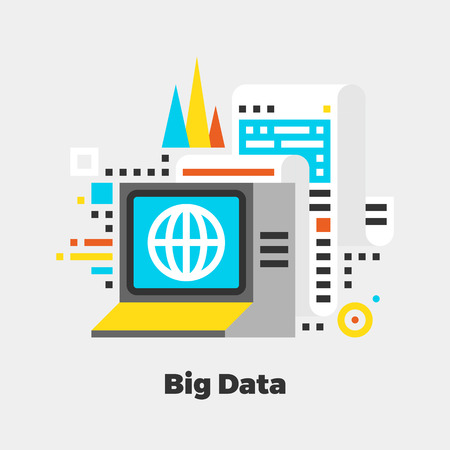 digital: Big Data Flat Icon. Material Design Illustration Concept. Modern Colorful Web Design Graphics. Premium Quality. Pixel Perfect. Bold Line Color Art. Unusual Artwork Isolated on White.  Illustration