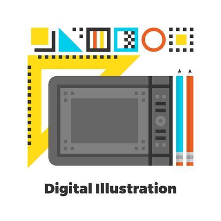 Digital Illustration Flat Icon. Material Design Illustration Concept. Modern Colorful Web Design Graphics. Premium Quality. Pixel Perfect. Bold Line Color Art. Unusual Artwork Isolated on White.