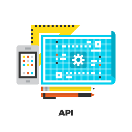 line material: API Development Flat Icon. Material Design Illustration Concept. Modern Colorful Web Design Graphics. Premium Quality. Pixel Perfect. Bold Line Color Art. Unusual Artwork Isolated on White.