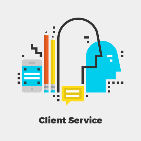 isolated: Client Service Flat Icon. Material Design Illustration Concept. Modern Colorful Web Design Graphics. Premium Quality. Pixel Perfect. Bold Line Color Art. Unusual Artwork Isolated on White. Illustration
