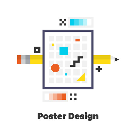 line material: Poster Design Flat Icon. Material Design Illustration Concept. Modern Colorful Web Design Graphics. Premium Quality. Pixel Perfect. Bold Line Color Art. Unusual Artwork Isolated on White.