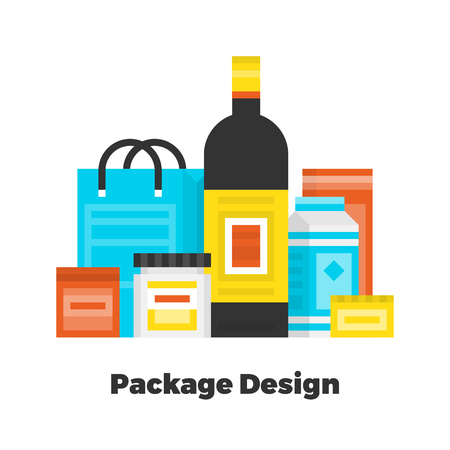 box: Package Design Flat Icon. Material Design Illustration Concept. Modern Colorful Web Design Graphics. Premium Quality. Pixel Perfect. Bold Line Color Art. Unusual Artwork Isolated on White. Illustration