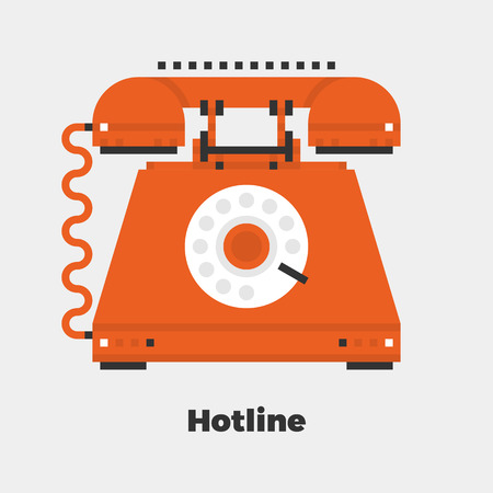 line material: Hotline Flat Icon. Material Design Illustration Concept. Modern Colorful Web Design Graphics. Premium Quality. Pixel Perfect. Bold Line Color Art. Unusual Artwork Isolated on White.