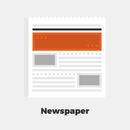 line material: Newspaper Flat Icon. Material Design Illustration Concept. Modern Colorful Web Design Graphics. Premium Quality. Pixel Perfect. Bold Line Color Art. Unusual Artwork Isolated on White.