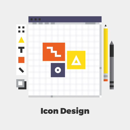 line material: Flat Icon. Material Design Illustration Concept. Modern Colorful Web Design Graphics. Premium Quality. Pixel Perfect. Bold Line Color Art. Unusual Artwork Isolated on White.