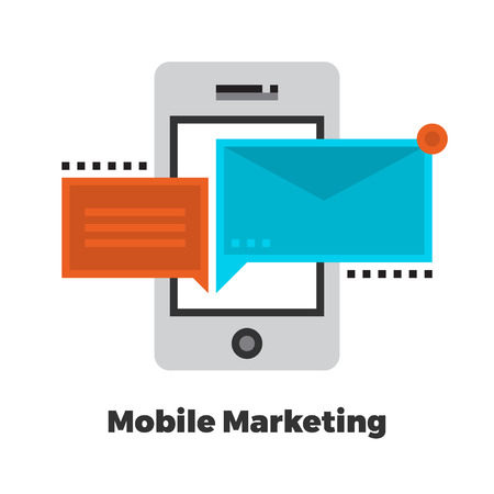 Mobile Marketing Flat Icon. Material Design Illustration Concept. Modern Colorful Web Design Graphics. Premium Quality. Pixel Perfect. Bold Line Color Art. Unusual Artwork Isolated on White.