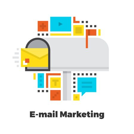 contact: E-Mail Marketing Flat Icon. Material Design Illustration Concept. Modern Colorful Web Design Graphics. Premium Quality. Pixel Perfect. Bold Line Color Art. Unusual Artwork Isolated on White. Illustration