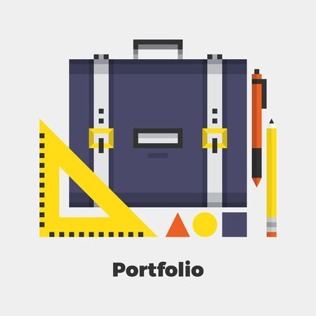 line material: Portfolio Flat Icon. Material Design Illustration Concept. Modern Colorful Web Design Graphics. Premium Quality. Pixel Perfect. Bold Line Color Art. Unusual Artwork Isolated on White. Illustration