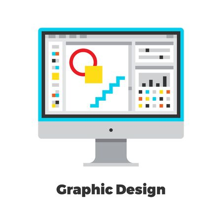 line material: Graphic Design Flat Icon. Material Design Illustration Concept. Modern Colorful Web Design Graphics. Premium Quality. Pixel Perfect. Bold Line Color Art. Unusual Artwork Isolated on White.