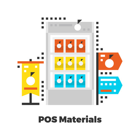 isolated: POS Materials Flat Icon. Material Design Illustration Concept. Modern Colorful Web Design Graphics. Premium Quality. Pixel Perfect. Bold Line Color Art. Unusual Artwork Isolated on White. Illustration