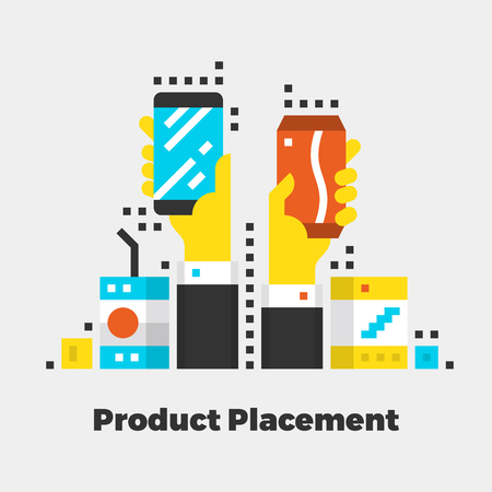 isolated: Product Placement Flat Icon. Material Design Illustration Concept. Modern Colorful Web Design Graphics. Premium Quality. Pixel Perfect. Bold Line Color Art. Unusual Artwork Isolated on White.