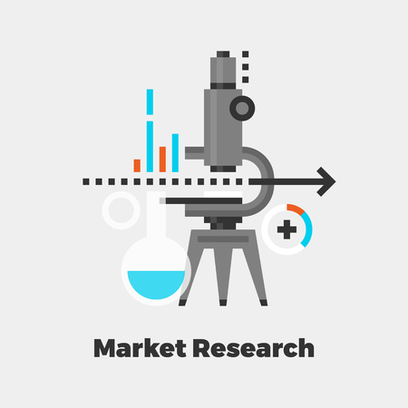 line material: Market Research Flat Icon. Material Design Illustration Concept. Modern Colorful Web Design Graphics. Premium Quality. Pixel Perfect. Bold Line Color Art. Unusual Artwork Isolated on White. Illustration
