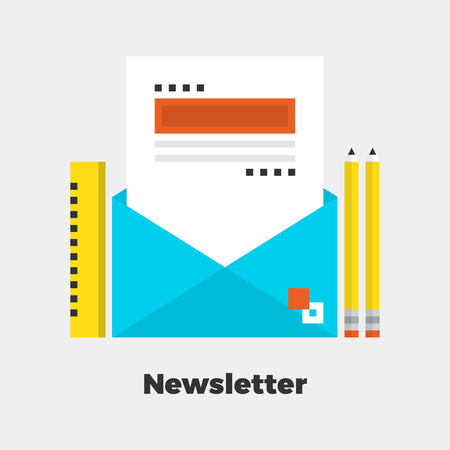 contact: Newsletter Flat Icon. Material Design Illustration Concept. Modern Colorful Web Design Graphics. Premium Quality. Pixel Perfect. Bold Line Color Art. Unusual Artwork Isolated on White.  Illustration