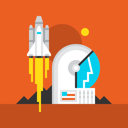 Mars Takeoff Flat Icon. Material Design Illustration Concept. Modern Colorful Web Design Graphics. Premium Quality. Pixel Perfect. Bold Line Color Art. Unusual Artwork Isolated on White.