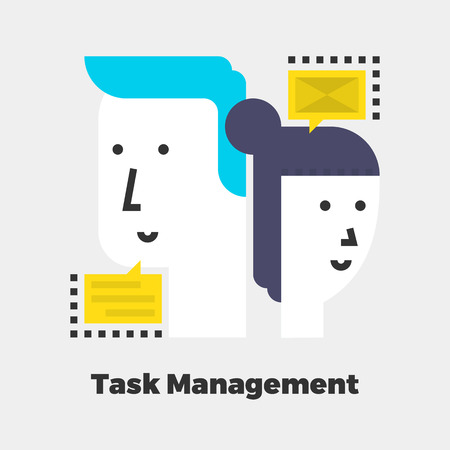 isolated: Task Management Icon. Material Design Illustration Concept. Modern Colorful Web Design Graphics. Premium Quality. Pixel Perfect. Bold LineColor Art. Unusual Artwork Isolated on White.