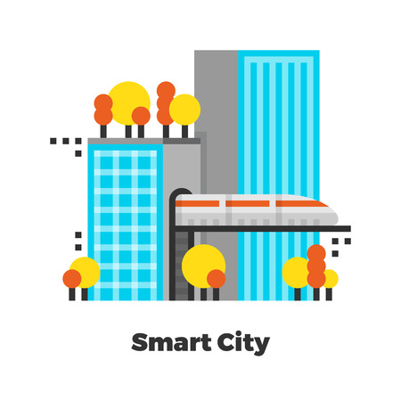 modern office: Smart City Flat Icon. Material Design Illustration Concept. Modern Colorful Web Design Graphics. Premium Quality. Pixel Perfect. Bold Line Color Art. Unusual Artwork Isolated on White.  Illustration