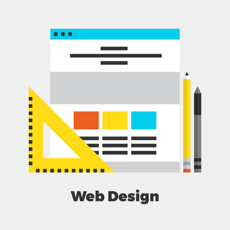 line drawings: Web Design Flat Icon. Material Design Illustration Concept. Modern Colorful Web Design Graphics. Premium Quality. Pixel Perfect. Bold LineColor Art. Unusual Artwork Isolated on White.  Illustration