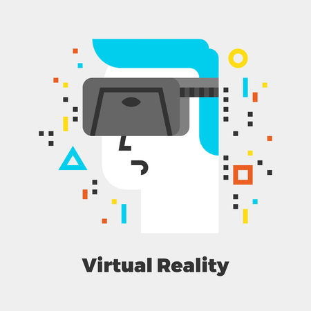 white: Virtual Reality Flat Icon. Material Design Illustration Concept. Modern Colorful Web Design Graphics. Premium Quality. Pixel Perfect. Bold LineColor Art. Unusual Artwork Isolated on White.