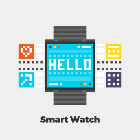 line material: Smart Watch Icon. Material Design Illustration Concept. Modern Colorful Web Design Graphics. Premium Quality. Pixel Perfect. Bold Line Color Art. Unusual Artwork Isolated on White. Illustration