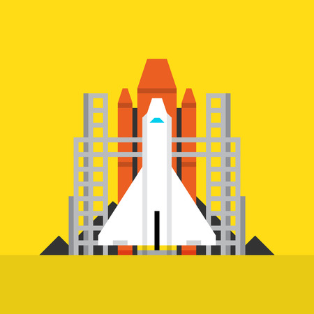 spaceflight: Space Shuttle Flat Icon. Material Design Illustration Concept. Modern Colorful Web Design Graphics. Premium Quality. Pixel Perfect. Bold LineColor Art. Unusual Artwork Isolated on White.