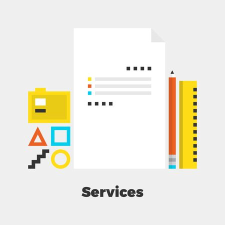 line material: Services Flat Icon. Material Design Illustration Concept. Modern Colorful Web Design Graphics. Premium Quality. Pixel Perfect. Bold Line Color Art. Unusual Artwork Isolated on White.
