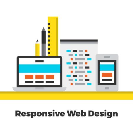 contemporary: Responsive Web Design. Flat Icon. Material Design Illustration Concept. Modern Colorful Web Design Graphics. Premium Quality. Pixel Perfect. Bold Line Color Art. Unusual Artwork Isolated on White.