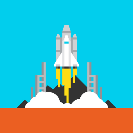 Space Takeoff Flat Icon. Material Design Illustration Concept. Modern Colorful Web Design Graphics. Premium Quality. Pixel Perfect. Bold LineColor Art. Unusual Artwork Isolated on White.
