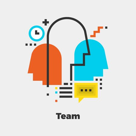 family discussion: Team Flat Icon. Material Design Illustration Concept. Modern Colorful Web Design Graphics. Premium Quality. Pixel Perfect. Bold LineColor Art. Unusual Artwork Isolated on White. Illustration
