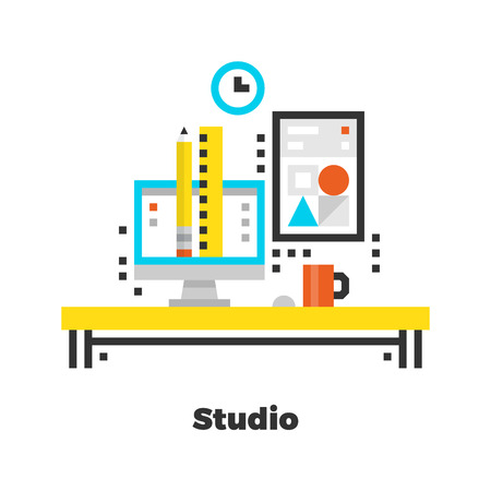 office desk: Studio Flat Icon. Material Design Illustration Concept. Modern Colorful Web Design Graphics. Premium Quality. Pixel Perfect. Bold LineColor Art. Unusual Artwork Isolated on White.