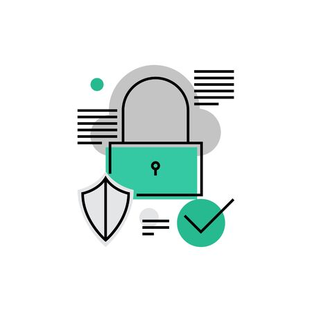 encrypt: Modern vector icon of secured information, data privacy and padlock protection. Premium quality vector illustration concept. Flat line icon symbol. Flat design image isolated on white background.