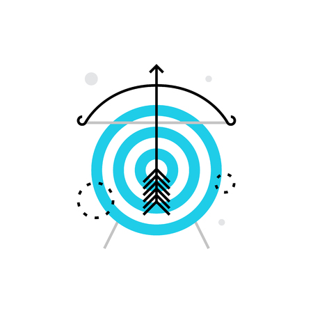Modern vector icon of marketing goals, campaign mission and social aim targeting. Premium quality vector illustration concept. Flat line icon symbol. Flat design image isolated on white background.