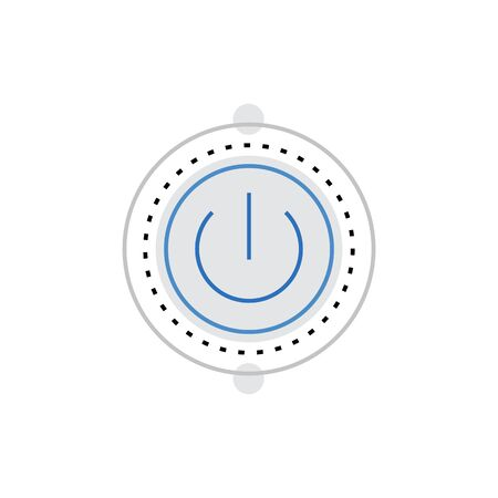 shutdown: Modern vector icon of power button, energy toggle and light or sound switch. Premium quality vector illustration concept. Flat line icon symbol. Flat design image isolated on white background. Illustration