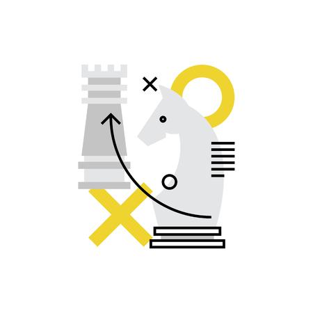 Icône de vecteur moderne de tactiques d'entreprise, de planification d'entreprise et d'objectifs stratégiques. Concept d'illustration vectorielle de qualité Premium. Symbole d'icône de ligne plate. Image design plat isolé sur fond blanc. Vecteurs