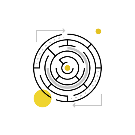 entanglement: Modern vector icon of solving maze, labyrinth form and solution search process. Premium quality vector illustration concept. Flat line icon symbol. Flat design image isolated on white background.
